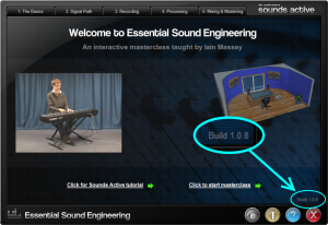 Sounds ESE home page highlighting position of version number
